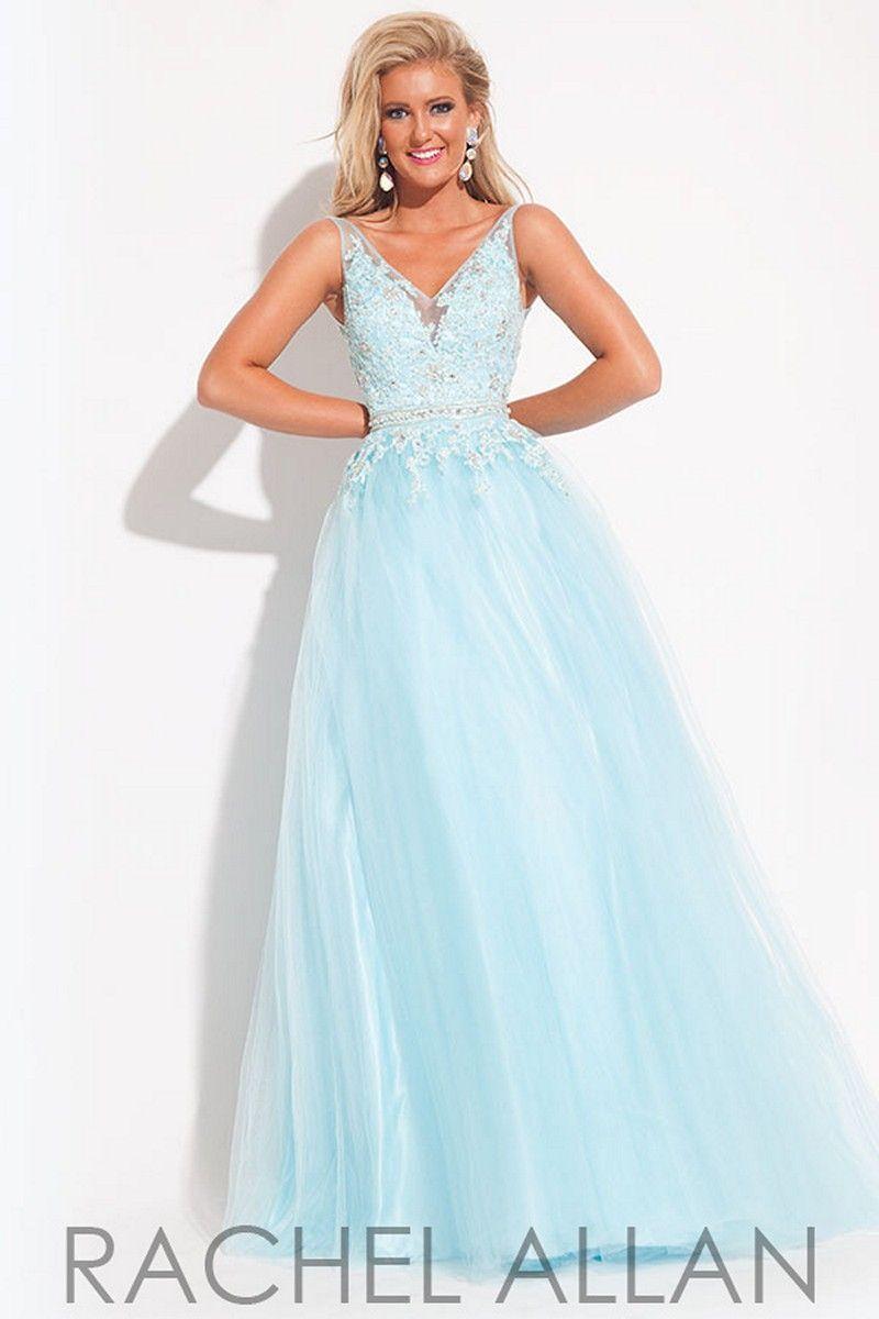 Multiple layers of tulle enshroud the rachel allan prom dress