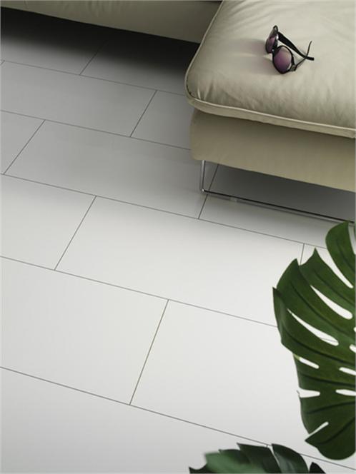 High Gloss White Tile Laminate Flooring In A Contemporary Living Room White Laminate Flooring