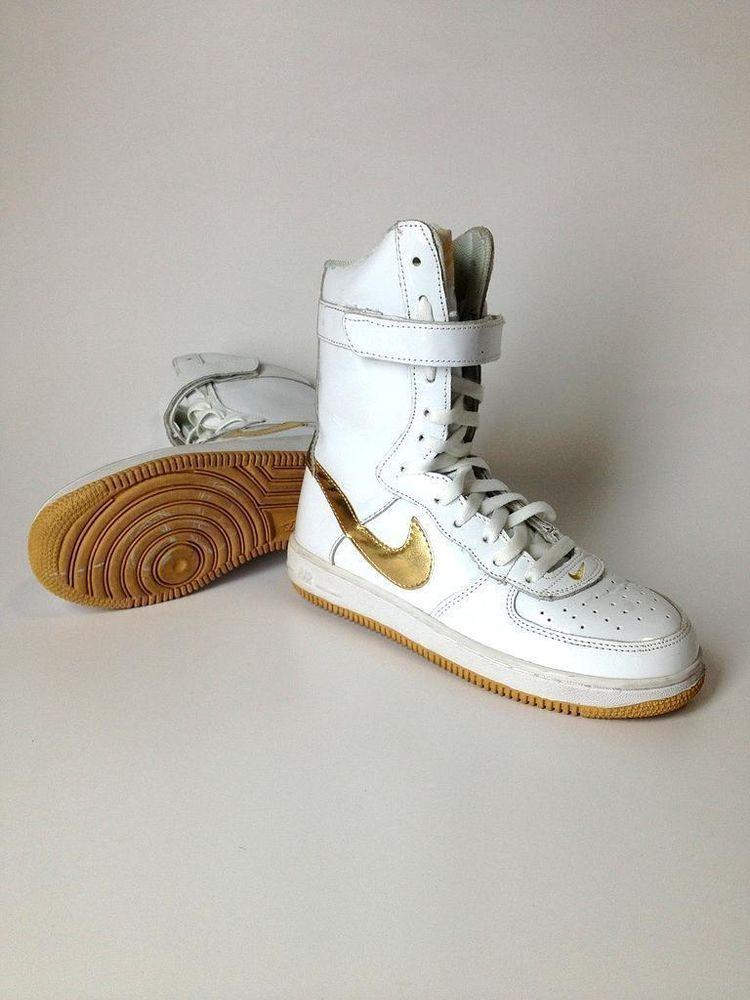 alto meno chiarezza  Women Nike Air Super High Top White Gold Athletic Shoe Size 6 37   Nike  women, Shoes, Athletic shoes