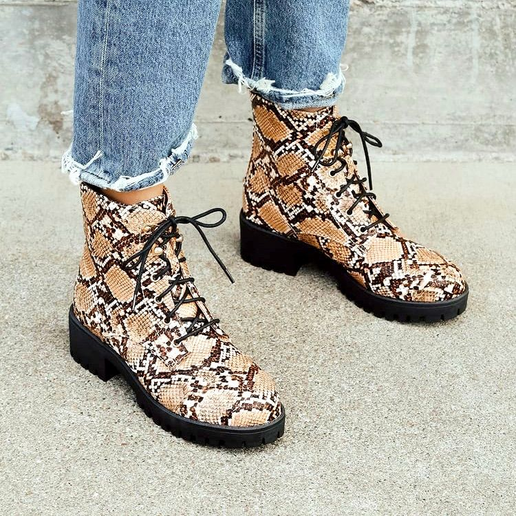 Lulu's Shoes | Tan Snake Print Lace-Up Ankle Boots