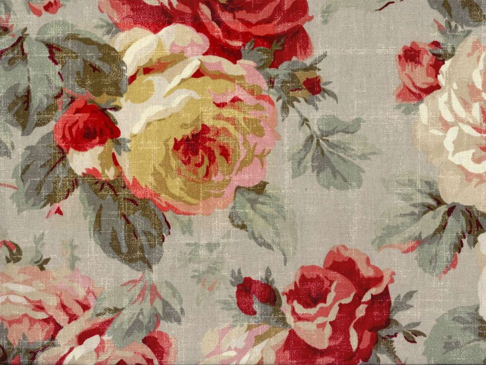 BY THE YARD   RAYON FABRIC GORGEOUS RED KITCHEN FLOWERED PRINT NEW