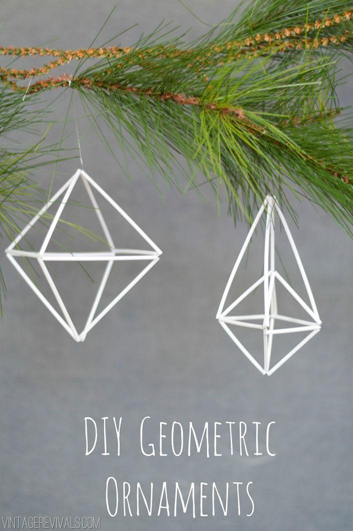 DIY Geometric Ornament Tutorial vintagerevivals (såkalt himmeli med tynne sugerør)