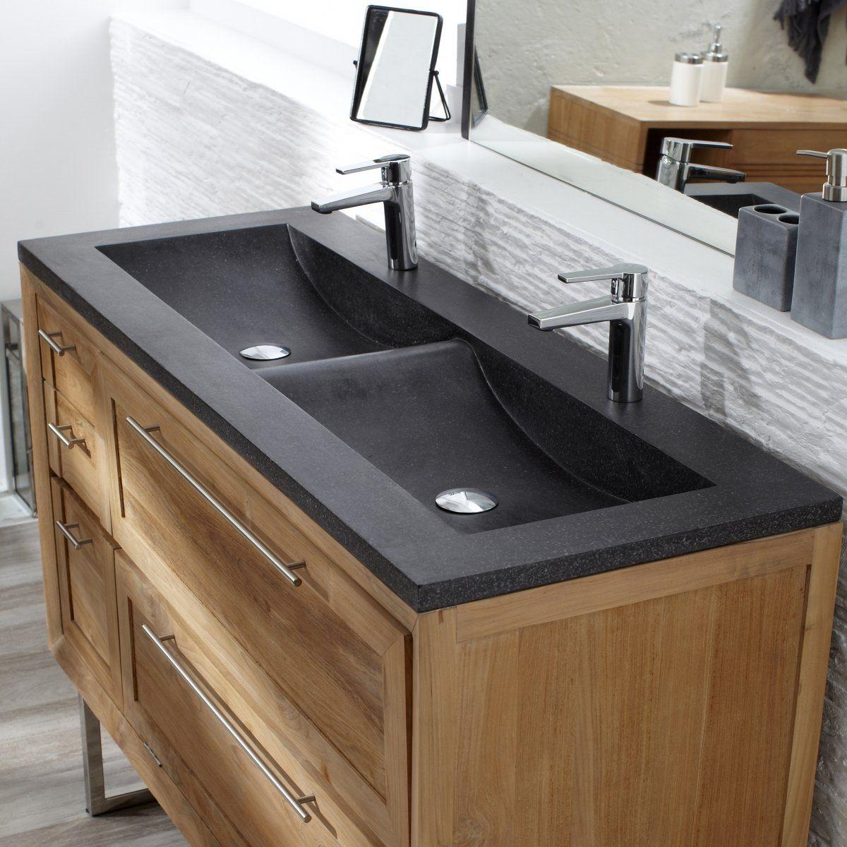 Meuble bois salle de bain double vasque avec haute dĩfinition