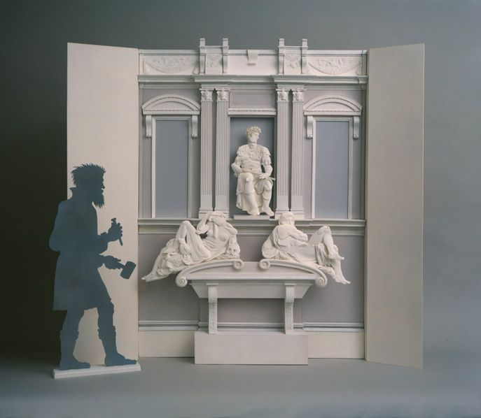 Paper Sculpture... Michelangelo's Tomb of Giuliano D'Medici... with the artist's image looking on.