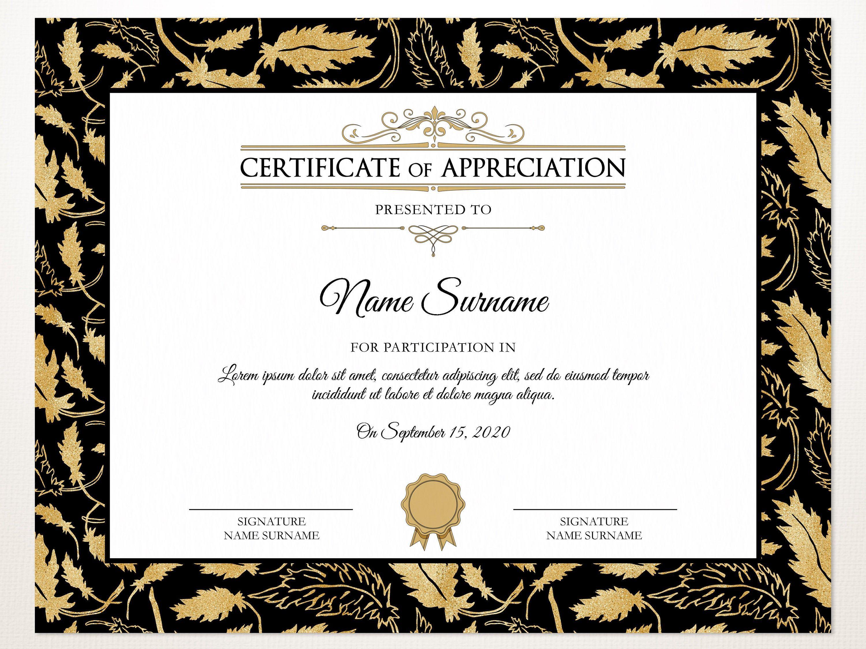 Elegant Certificate Of Appreciation Editable Printable Certificate Template Corporate Award Certificate Design With Gold Leaves Download Certificate Of Appreciation Certificate Templates Printable Certificates