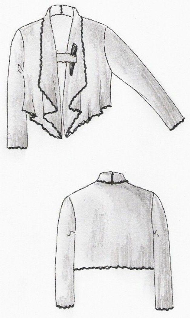 Ein Taillenkurzes Strickjäckchen mit einem angeschnittenen ...