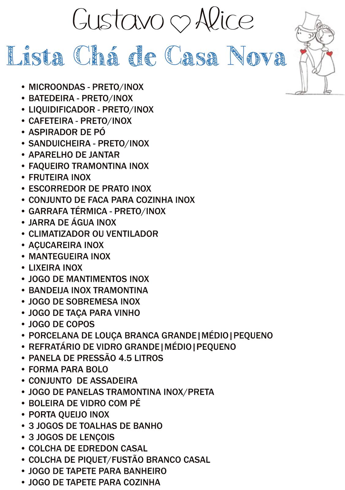 Resultado De Imagem Para Lista Cha De Casa Nova Princesinha
