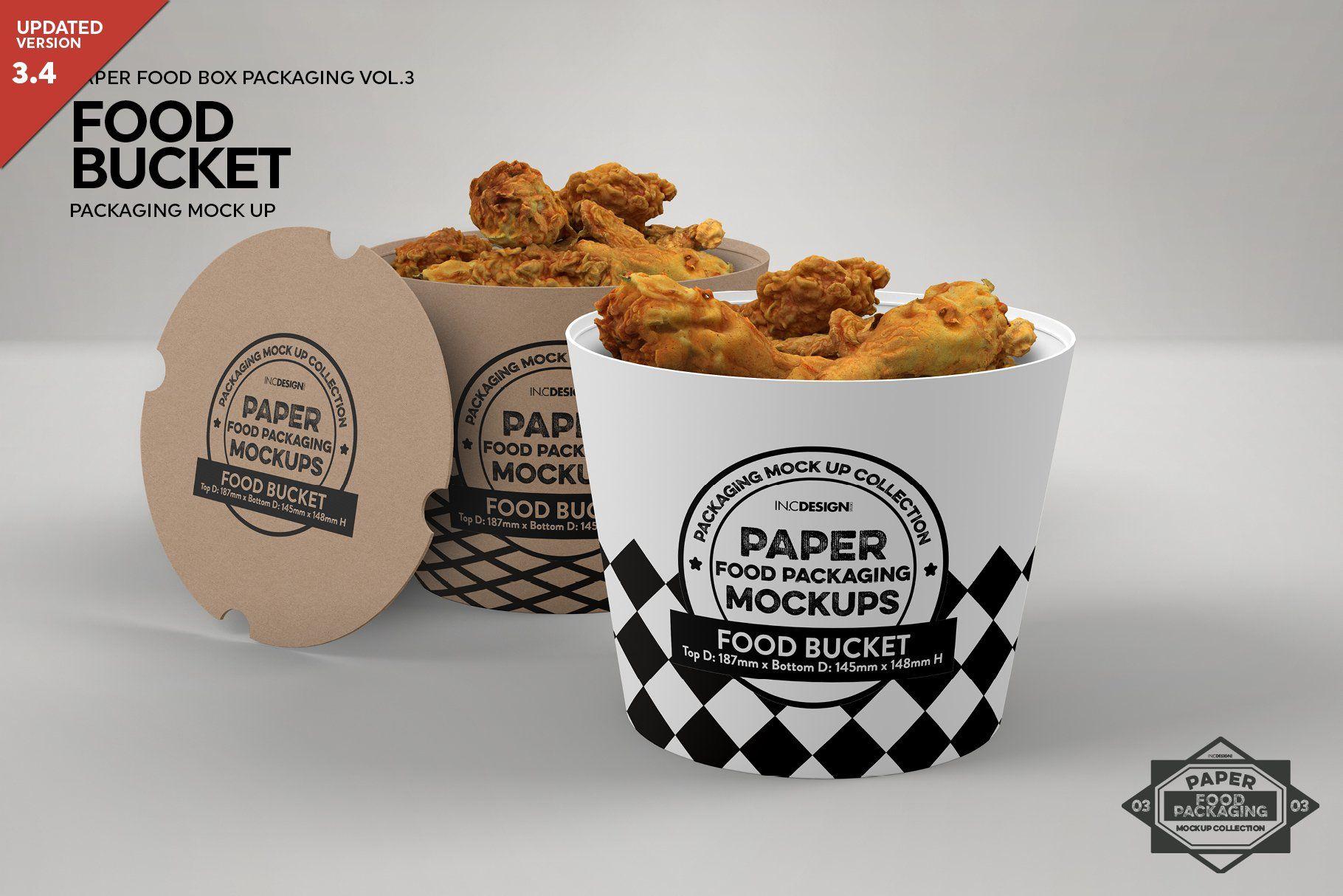 Download Paper Food Bucket Packaging Mockup Ide Kemasan Mockup Gratis