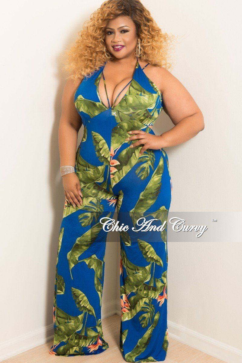3932975c326 Plus Size Halter Spaghetti Strap Jumpsuit with Wide Legs – Chic And Curvy