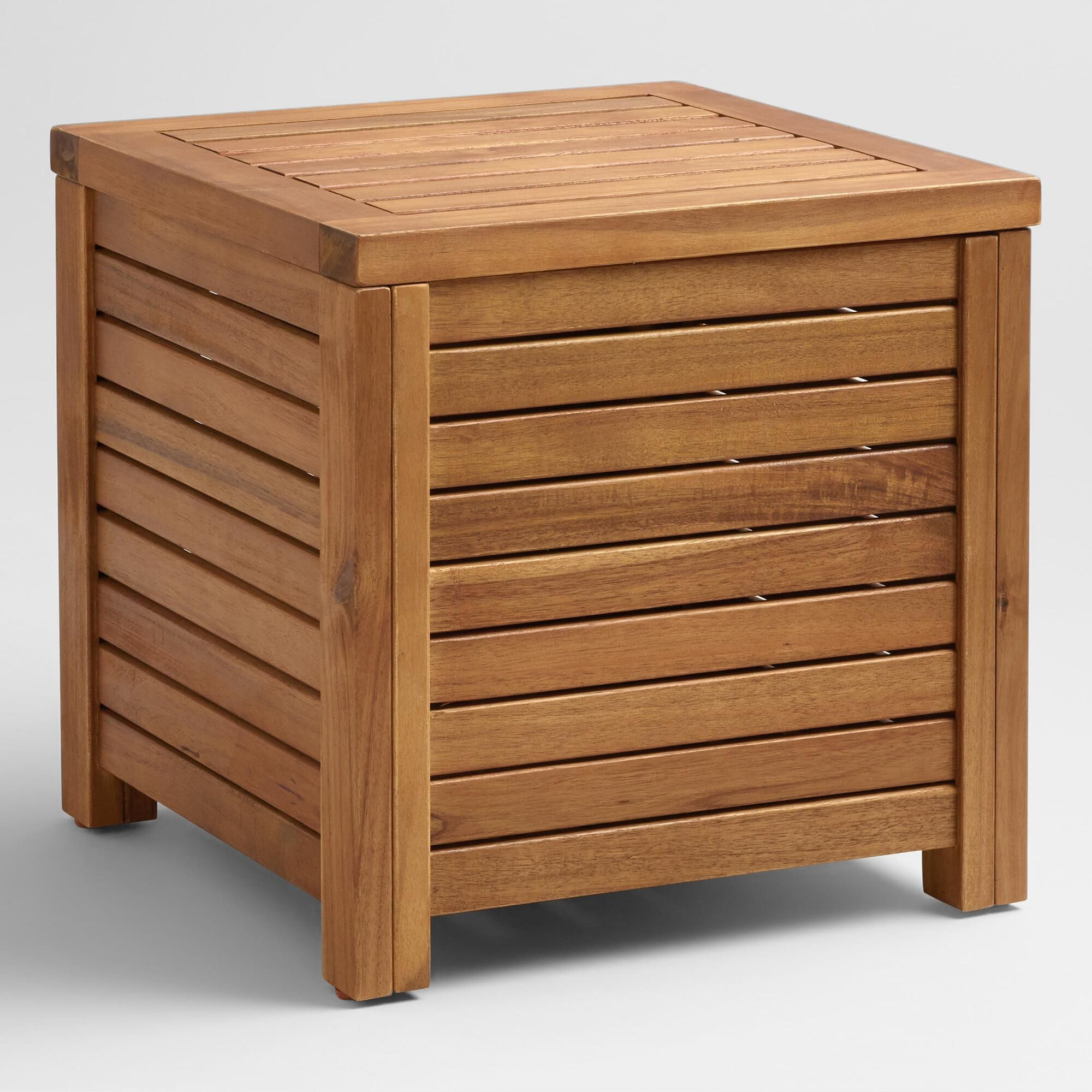 Wood Praiano Outdoor Storage Side Table Patio Storage Patio
