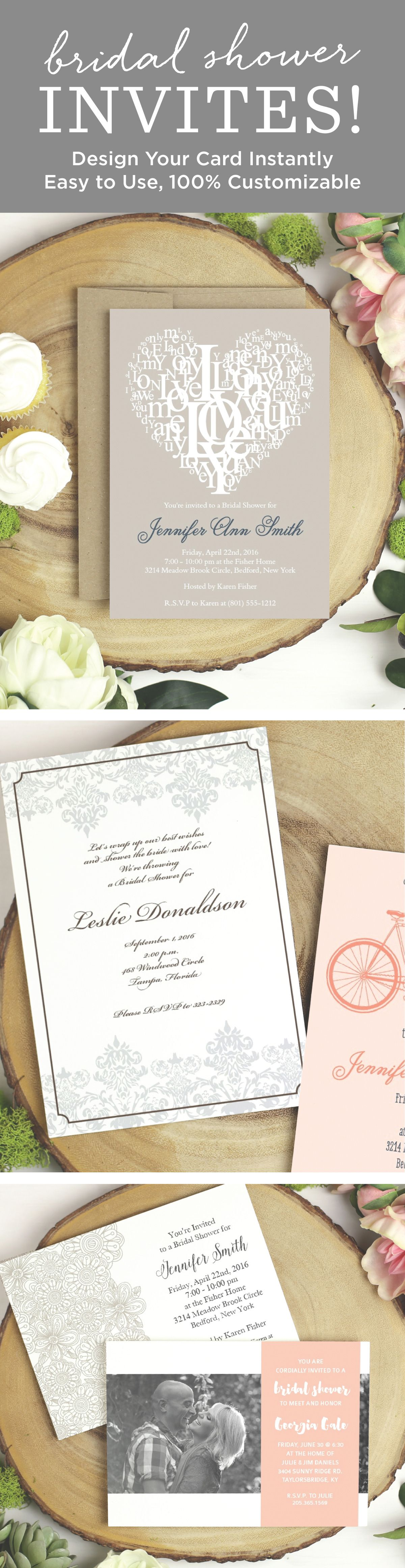bridal shower invitations registry etiquette%0A Design your perfect brial shower card instantly online with realtime  previews of every change  Bridal Shower CardsBridal Shower  InvitationsWedding