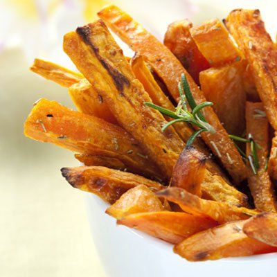 """BAKED SWEET POTATO FRIES - """"The egg whites help these baked """"fries"""" get crispy in this Martha Stewart inspired technique for a healthy redo that 'curbs the fat and salt but keeps the crunch'. I like to serve them with a spicy Buffalo wings inspired hot dipping sauce."""""""