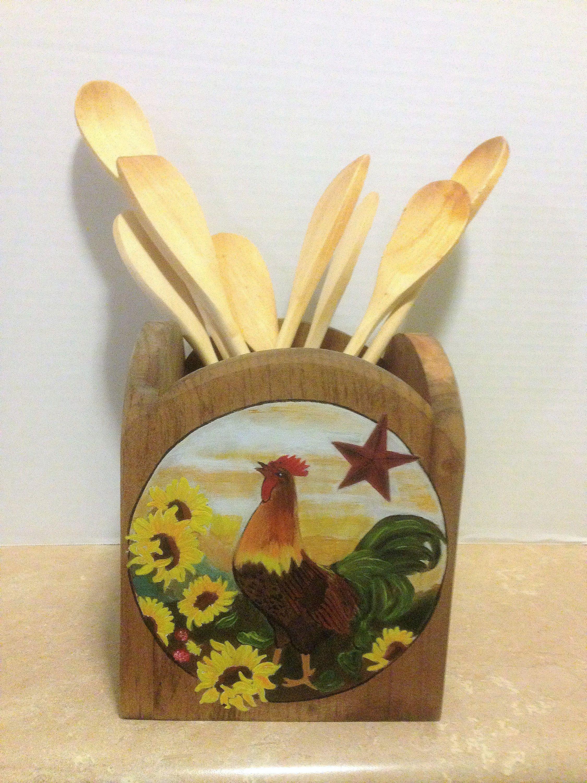 Superieur Utensil Holder, Kitchen Utensil Holder, Rooster Decor, Primitive Decor,  Primitive Rooster,