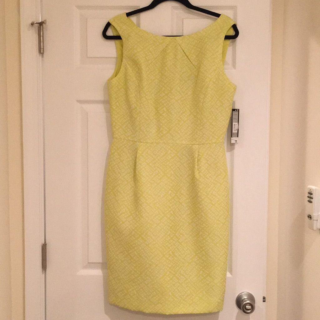 Nwt. Bright Green/Yellow Tahari Business Dress.