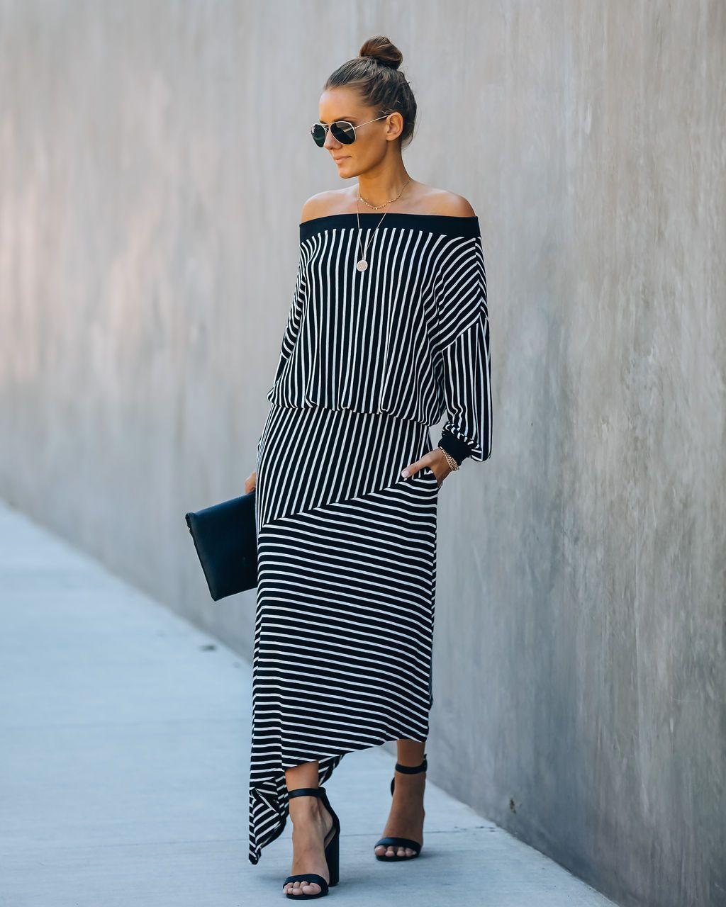 Gloria Pocketed Striped Asymmetrical Knit Dress Final Sale Striped Knit Dress Knit Dress Jersey Knit Dress [ 1280 x 1024 Pixel ]