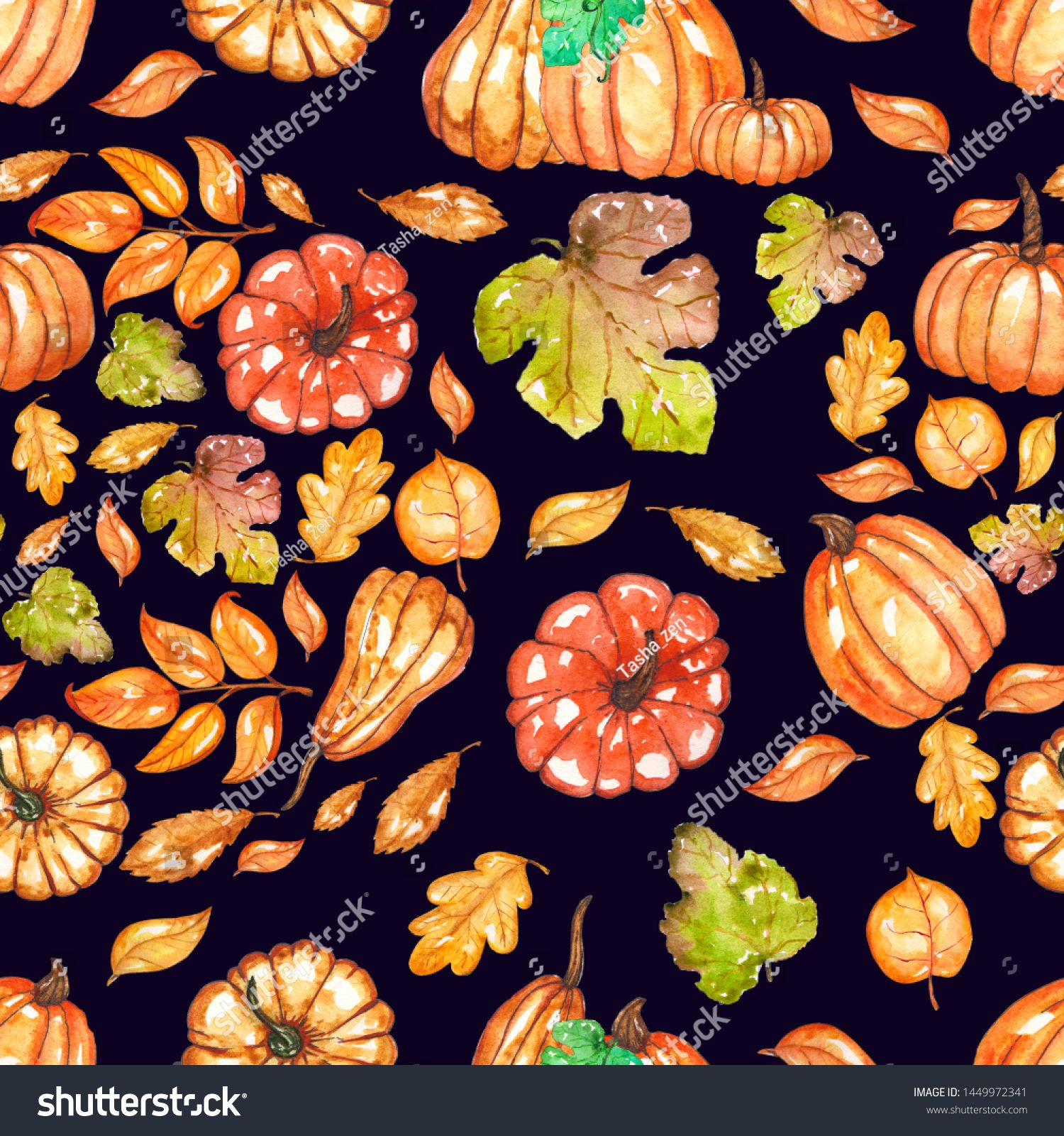 Hand Painted Watercolor Pumpkins Seamless Pattern Stock Illustration 1449972341 #halloweenbackgroundswallpapers