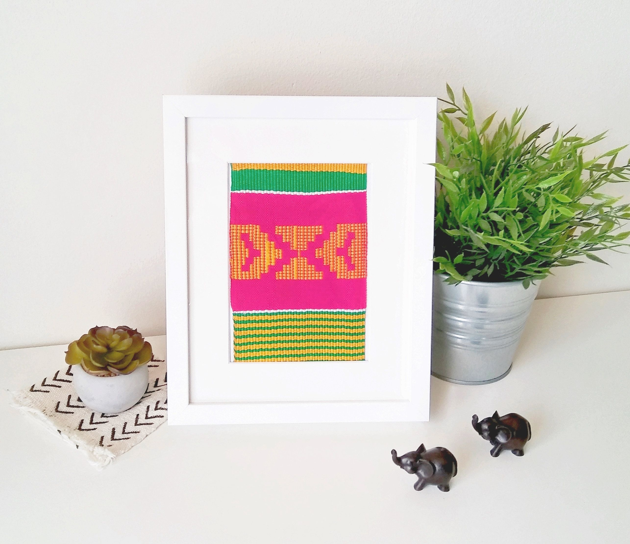 Pink and Green Kente Stole, Handwoven in Ghana, Framed textile ...