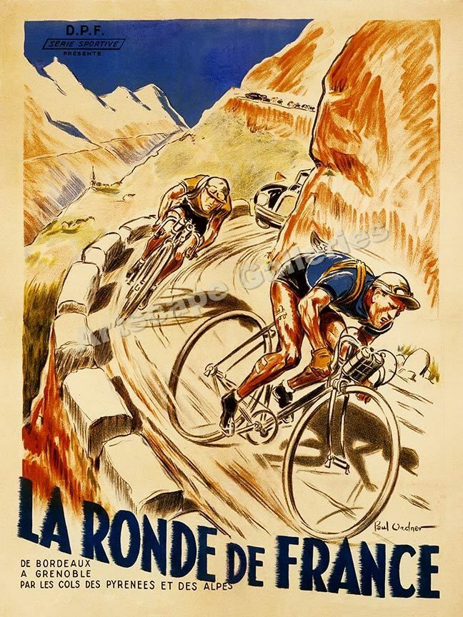 1928 La Ronde De France Tour De France Vintage Style Bicycle Poster 20x28 Bike Poster Cycling Posters Cycling Art