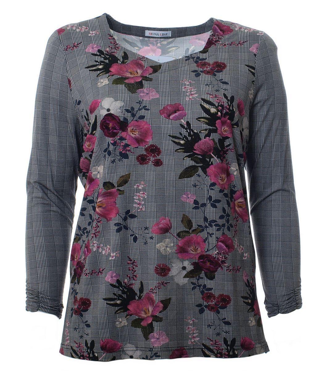 Shirt Damen Langarm Grau mit Blumen Große Größen | Mode
