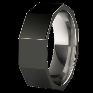 Custom Fractal titanium ring with Black Diamond finish Black
