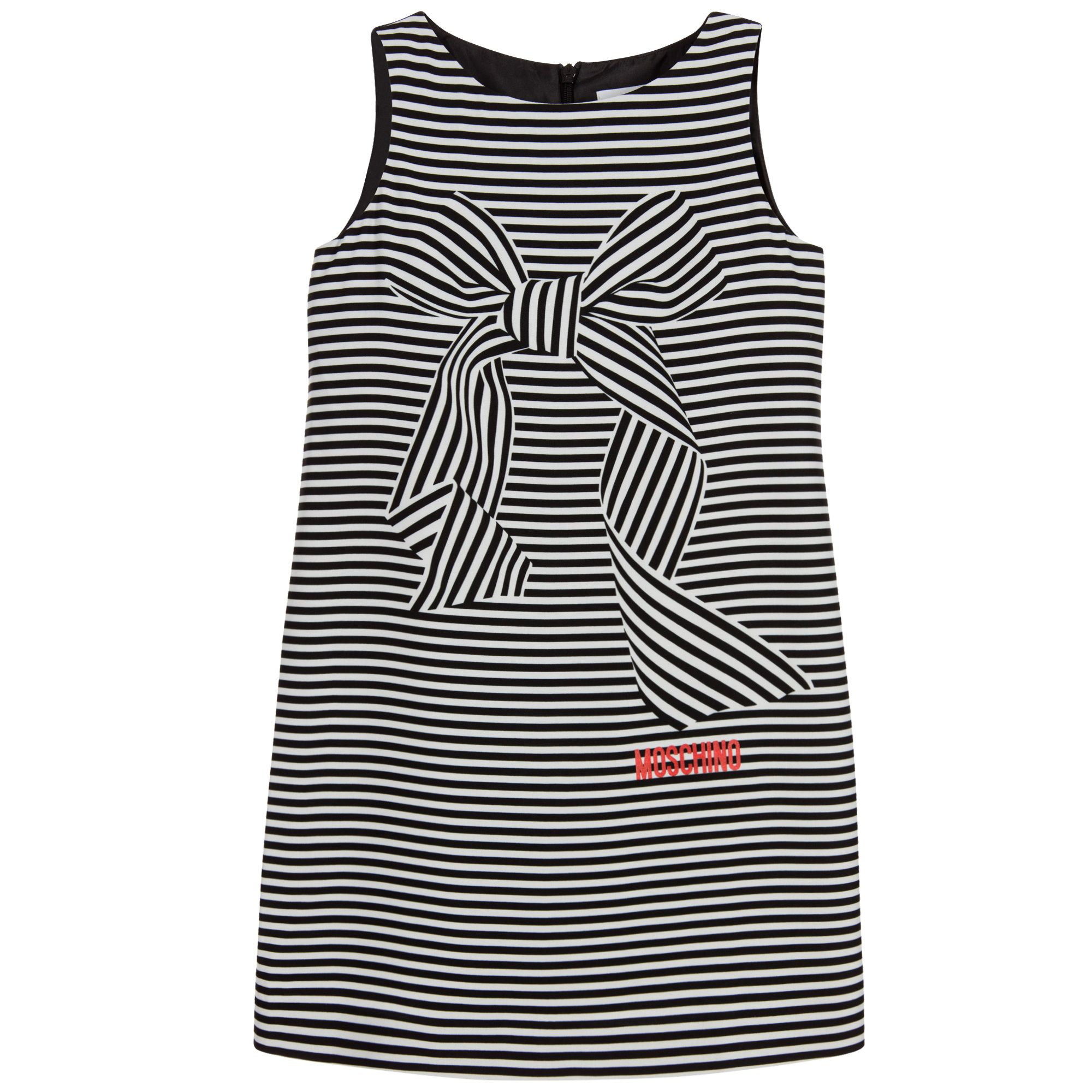 5d12b767875 Girls black and white dress by Moschino Kid-Teen. This shift style dress  has an eye-catching striped print on the front with a large bow detail and  branded ...