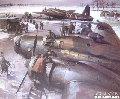 Wellington Dispersal by Michael Turner.  Ground crews prepare 99 Squadron Wellington bombers on their snow covered airfield at Waterbeach during the bitter winter of 1940.