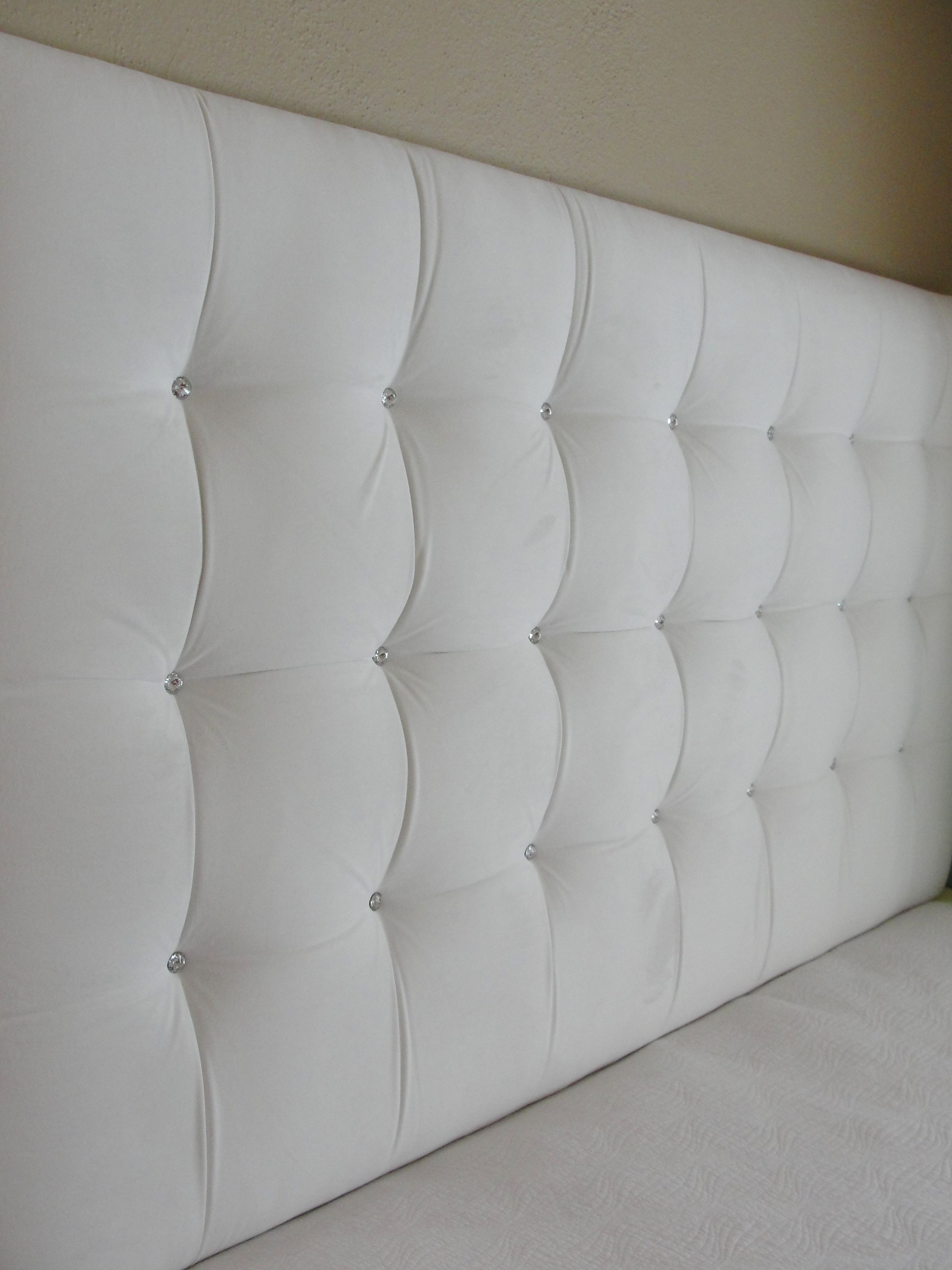 Tall White Velvet Square Tufted Upholstered Headboard Wall Mounted