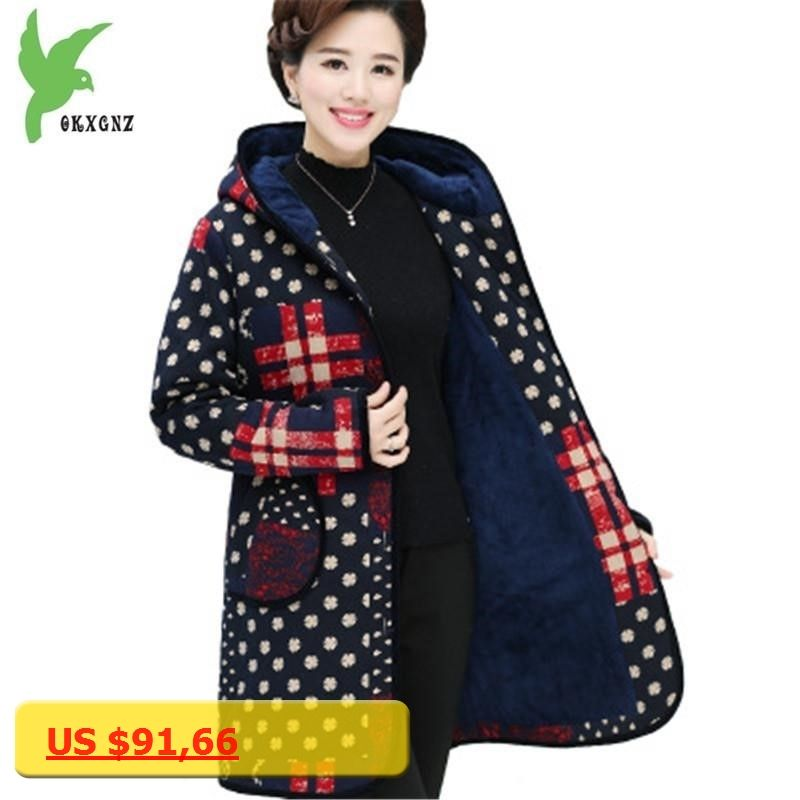 1333038a65f70 New Winter Middle aged Women Cotton Jackets Fashion Print Thick Hooded  Coats Plus Size Flocking Warm