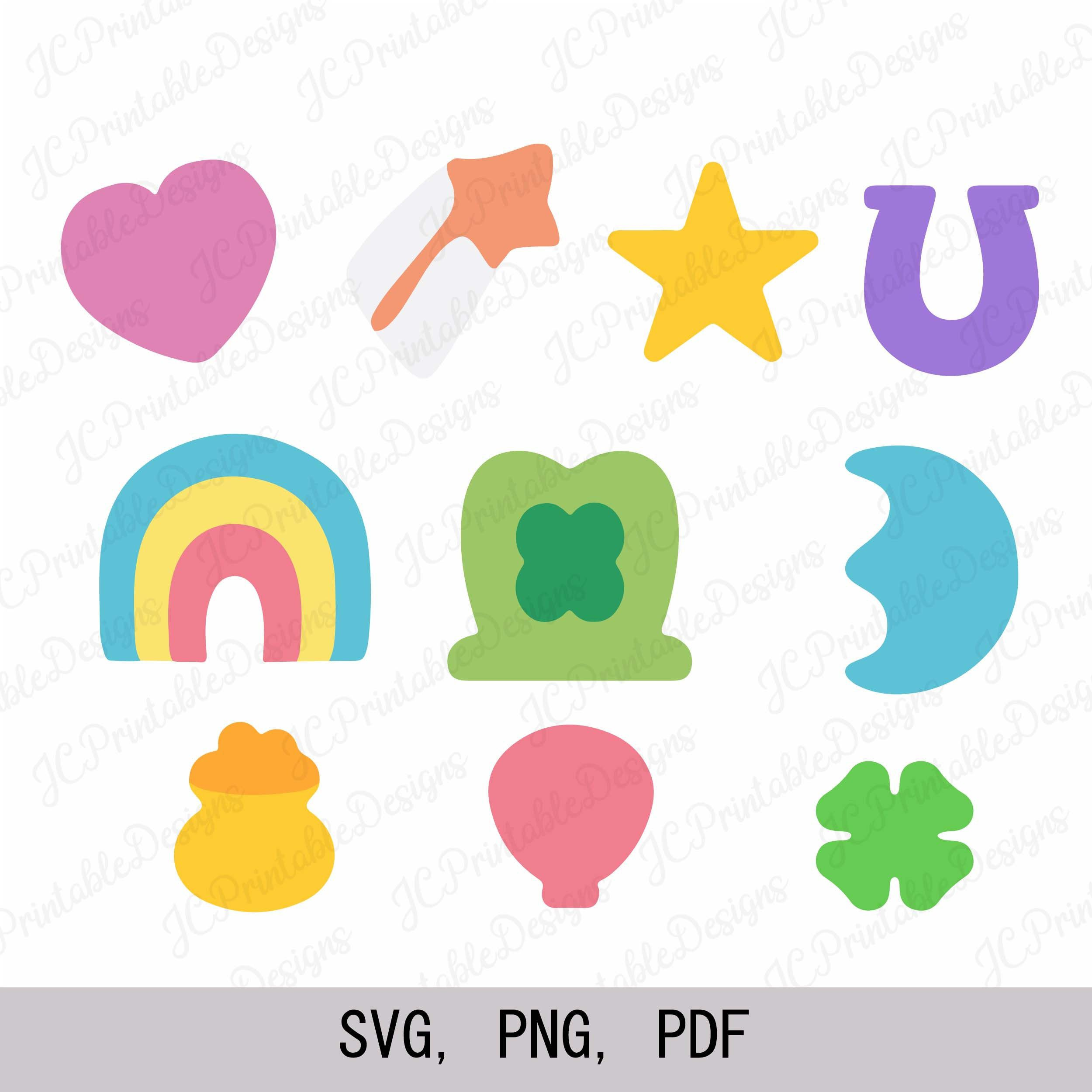 Lucky Charms Svg Lucky Charms Clipart Etsy In 2021 Lucky Charm Cartoon Clip Art Valentine Crafts For Kids