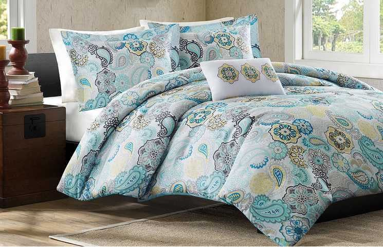 BEAUTIFUL BLUE TEAL WHITE AQUA YELLOW FLORAL BEACH BRIGHT TROPICAL  COMFORTER SET