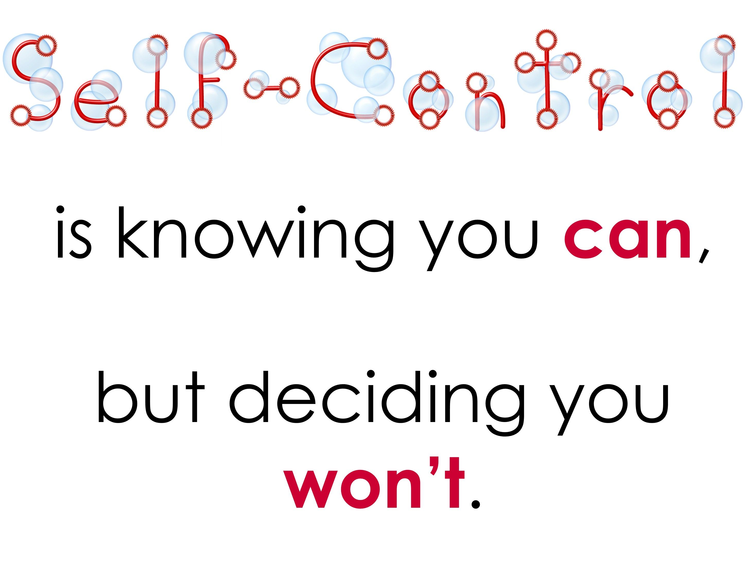 Poster To Go Along With Self Control Lesson Bubbles