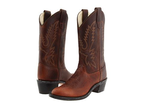 Natural And Freely Old West Ultra Flex Round Toe Boot - Child(Children's) -Thunder Oiled Rust/Light Tan Canyon Leather Super For Nice EMhKKj