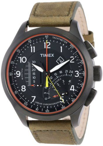 Timex Men s T2P276DH Intelligent Quartz Adventure Series Linear Chronograph  Olive Leather Strap Watch b4ea80602313