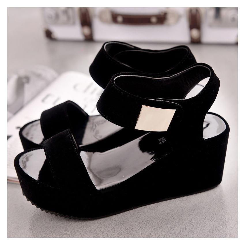 a8e3d53bbb7 Compra Sandalias Zapatos Cuña Plataforma Tiras Velcro Peep Toe Verano  -negro online ✓ Encuentra los mejores productos Sandalias Mujer Generic en  Linio Perú ...