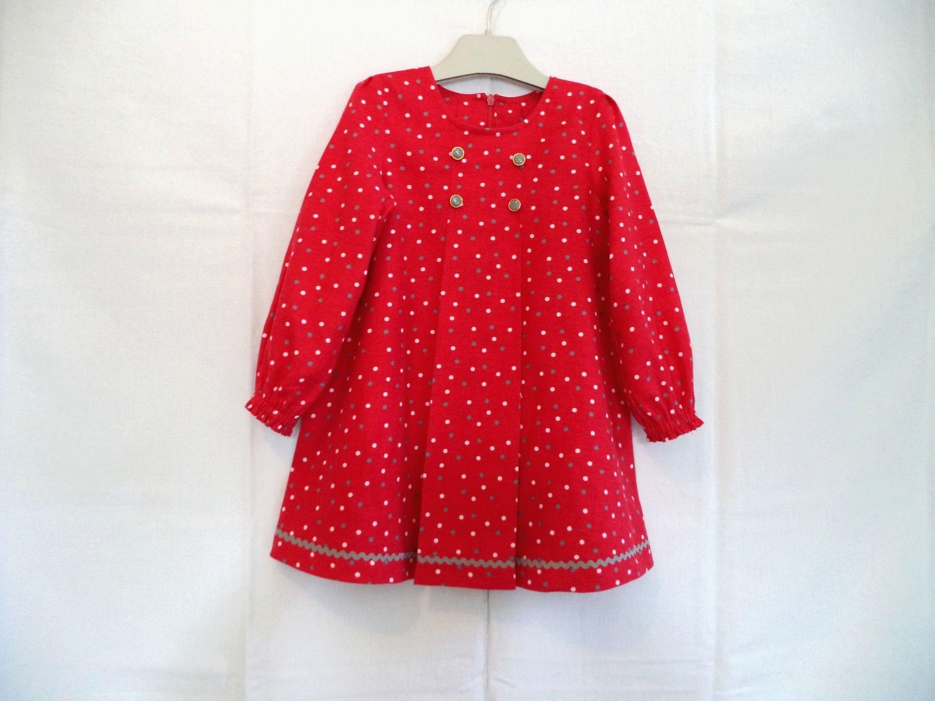 Robe fillette automne,hiver , rouge et petits pois gris et blancs , en coton