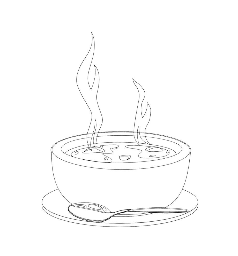 A Bowl Of Hot Soup Coloring Page For Kids   Kids Coloring Pages ...