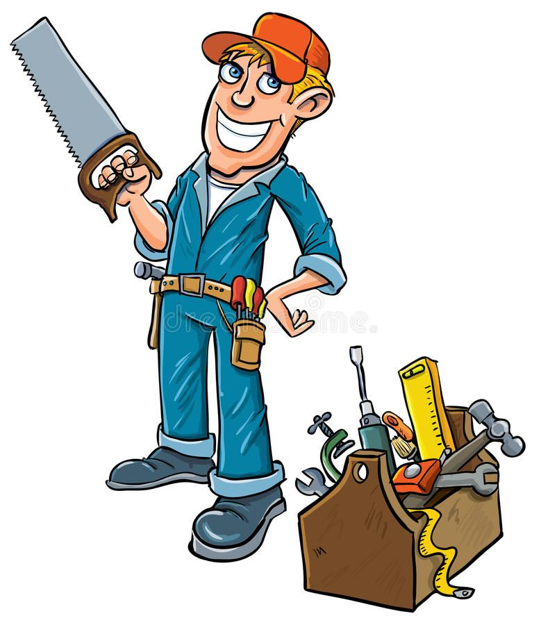 Cartoon Handyman With Toolbox Isolated On White Affiliate Handyman Cartoon Toolbox White Isolated Ad Man Clipart Handyman Logo Cartoon