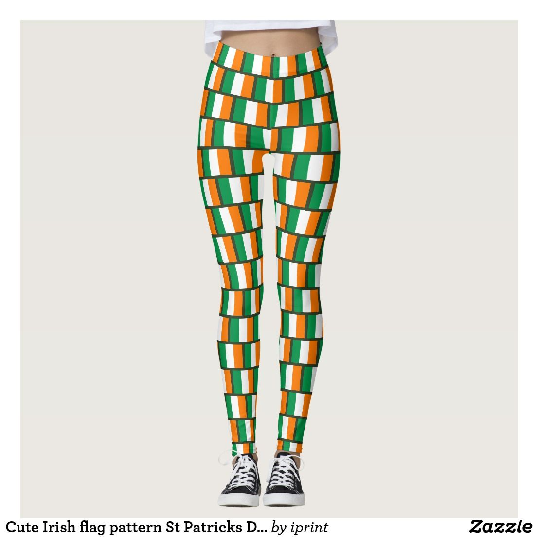 b3a290147ad69 Cute Irish flag pattern St Patricks Day party leggings. Fun St Pattys Day  costume outfit for lucky Irish women and girls.