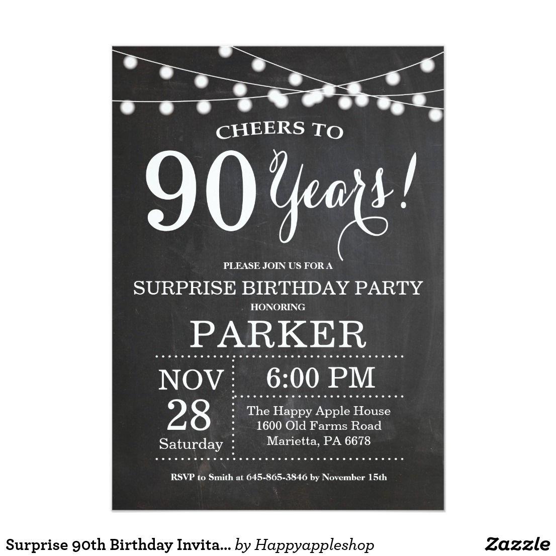 Surprise 90th Birthday Invitation Chalkboard