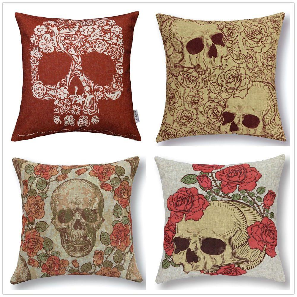 Euphoria skull cushion covers floral cushions home decor sofa bed
