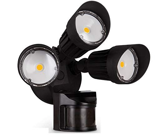 Asd Led Outdoor Flood Security Light With Motion Sensor 30w 3 Head Black Motion Light 5000k Check Out T Security Lights Motion Lights Led Flood Lights