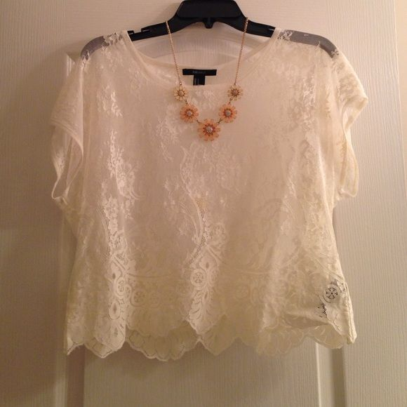Transparent Crochet Top! Beautiful crochet top. This too goes great with a cute bralette and fashionable necklace or maxi skirt! This top has only been worn once and is in perfect condition! Fits s-m (The necklace is also sold in my closet) Tops Blouses