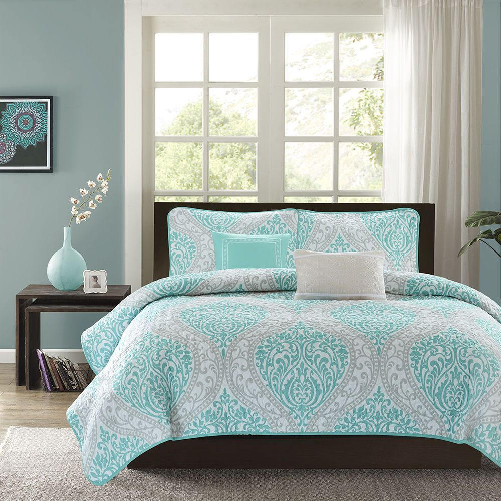 Teal and grey bedding sets - Details About Modern Chic Blue Teal Aqua White Grey Beach Ocean Soft Quilt Set 2 Pillows New