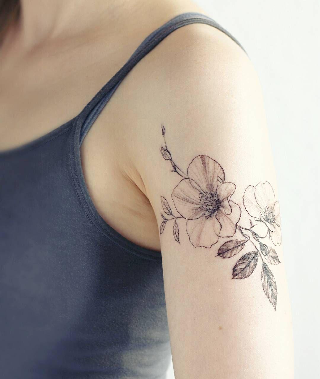 Delicate Wild Rose Tattoo By Tattooist Flower Verena Erin My Green Closet Verenaerin Flowertattoo Wild Rose Tattoo Flower Tattoo Shoulder Tattoos