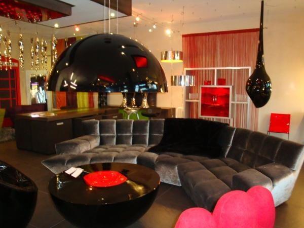 Idee Deco Salon Retro  idées de déco salon moderne rouge-blanc