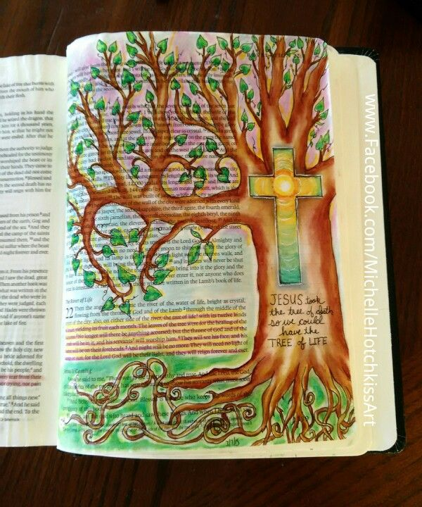 Revelation 22:2-5 The Tree of Life. Revelation is kind if scary but it has a GREAT ending! Bible art journaling. #bibleart #illustratedfaith #bibleartjournaling #biblejournaling #journalingbible #journalingbibleart #bibleartchallenge #bible #psalms #biblejournalingcommunity #scriptureart #faithart #treeoflife
