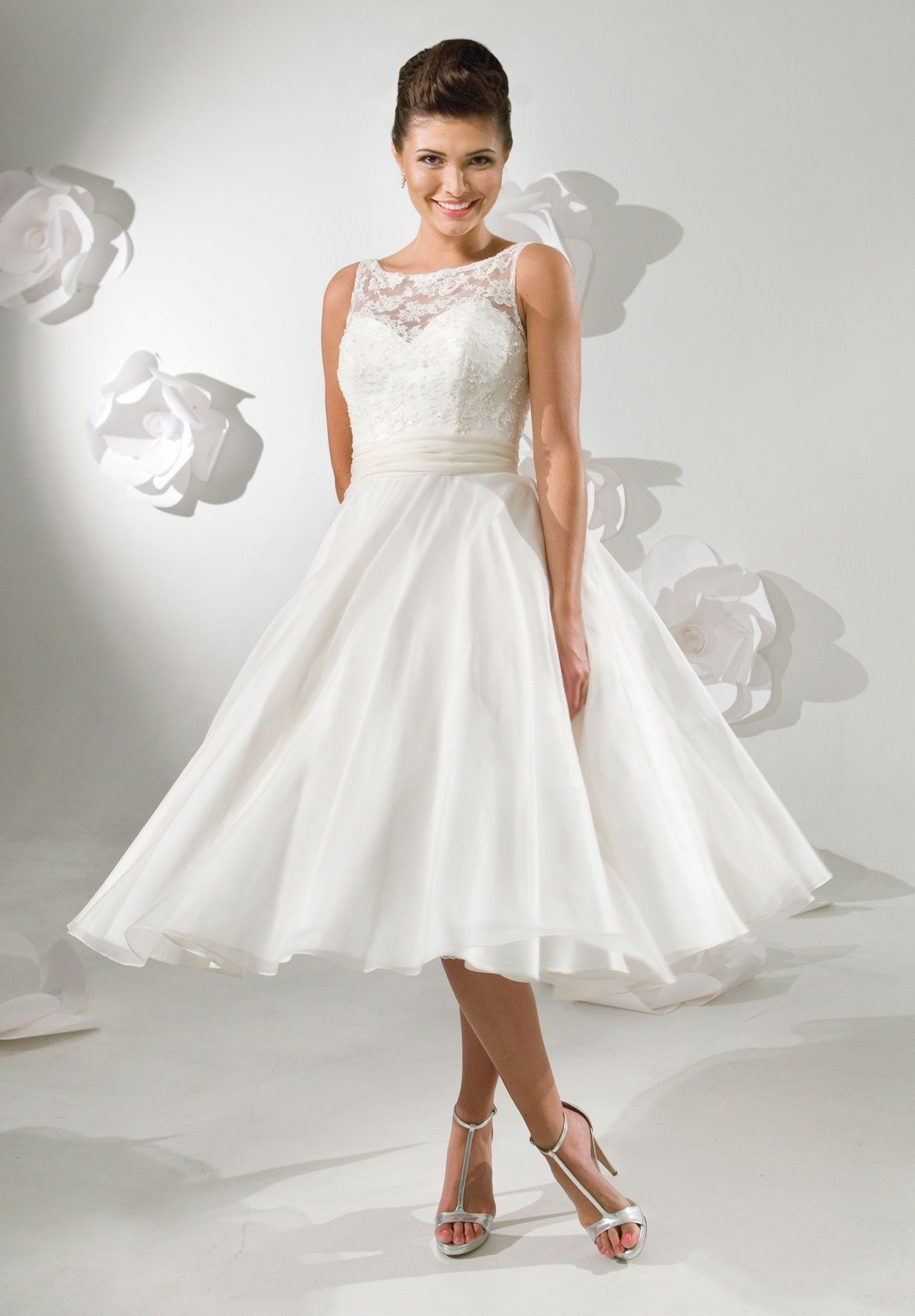 Tea length wedding dress satin and lace bateau a for Pinterest wedding dress lace