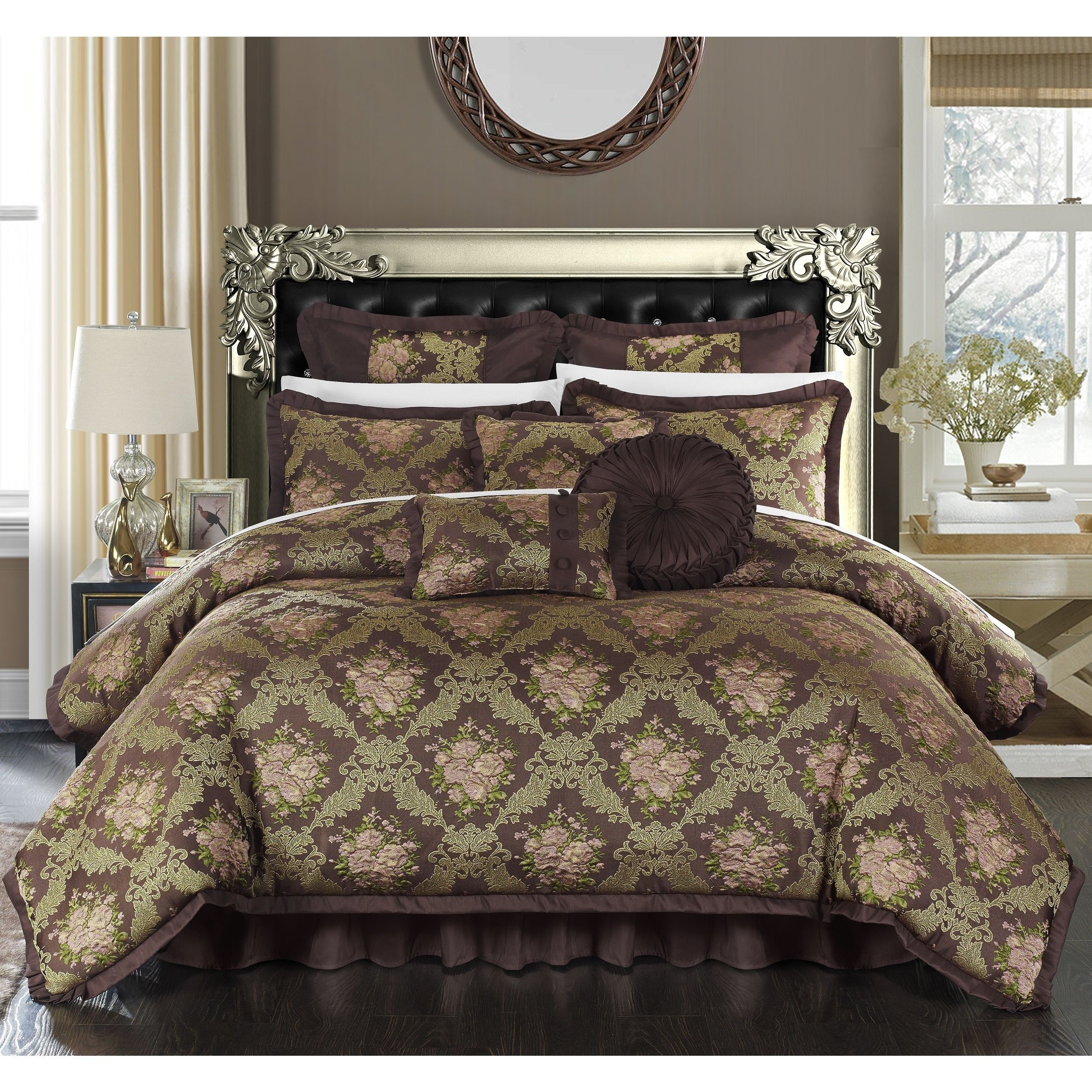 bath jacquard fabric beige free set today comforter bedding piece antonio shipping scroll overstock chic product home