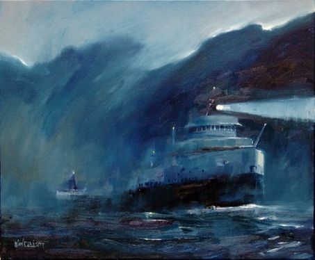 Night Crossing Neil Davison S Painting Depicts The Edmund