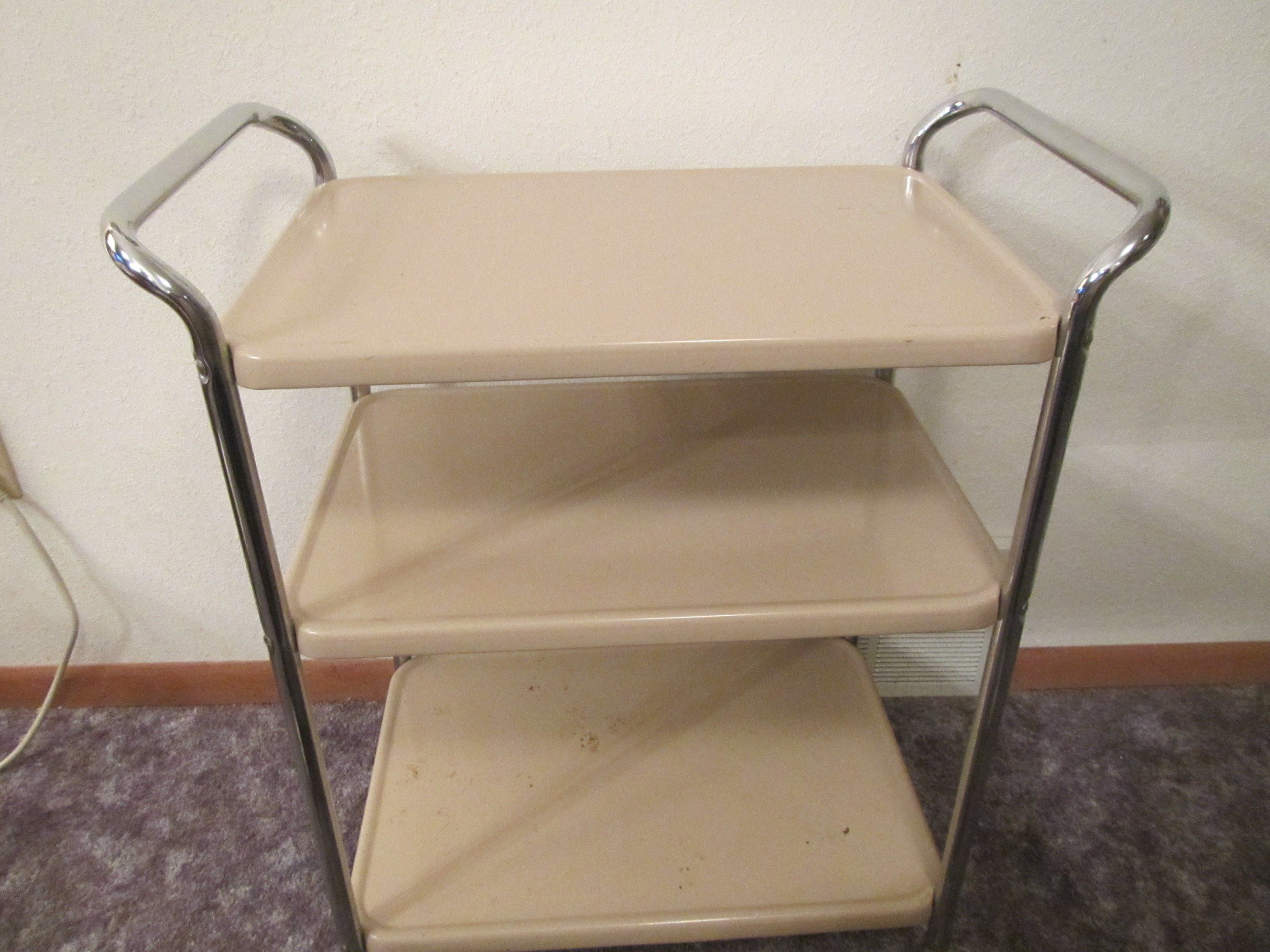Almond Kitchen Appliance Cart With 2 Handles, Rolling